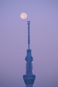 満月と東京スカイツリーの写真素材 [FYI01541686]