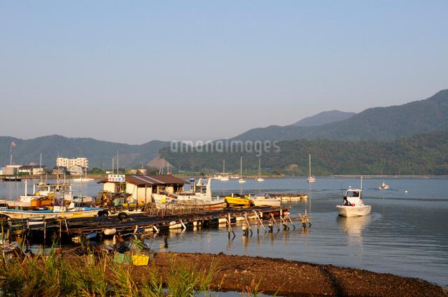 小浜湾カキ養殖作業場風景の写真素材 [FYI01544892]