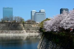 桜咲く大阪城公園からビジネスパークを見るの写真素材 [FYI01547428]