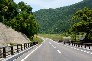 新緑の香美町 県道の写真素材 [FYI01548385]