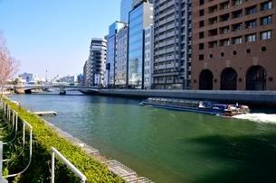 土佐堀川の遊覧船とビル街の写真素材 [FYI01548862]