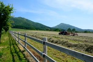 新緑,蒜山高原牧草作業の写真素材 [FYI01550048]