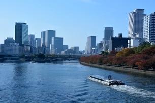 大阪 紅葉の土佐堀川と高層ビル群の写真素材 [FYI01551842]