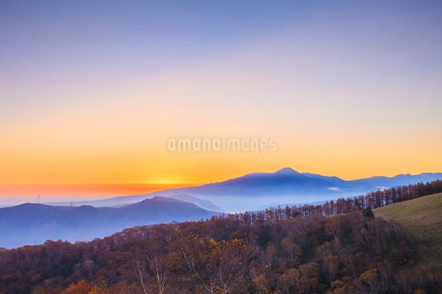 三峰山からのぞむ蓼科山と朝焼け空の写真素材 [FYI01555048]
