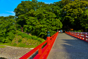 箱根湯本駅前を流れる早川に掛かるあじさい橋の写真素材 [FYI01559617]