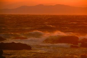 館山市伊戸海岸夕日に染まる波しぶきの写真素材 [FYI01559700]