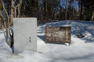 雪の中の志賀直哉の文学碑の写真素材 [FYI01560364]