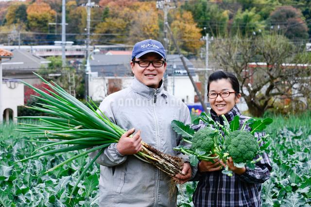 収穫したネギとブロッコリーを持つ農家夫婦の写真素材 [FYI01560529]