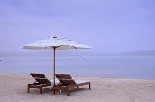 ビーチに置かれたパラソルの写真素材 [FYI01561295]
