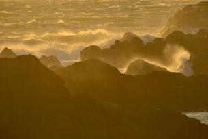 野島崎灯台付近の海岸の波しぶきの写真素材 [FYI01561407]