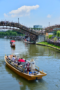潮来あやめ祭り会場のろ舟と嫁入り舟の写真素材 [FYI01561855]