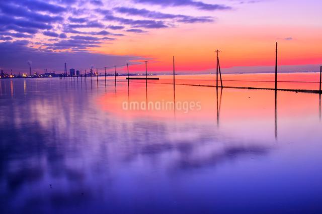 夕焼けに染まる江川海岸の写真素材 [FYI01563085]