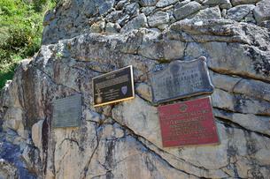 マチュピチュ遺跡に関する説明の金属板の写真素材 [FYI01563090]