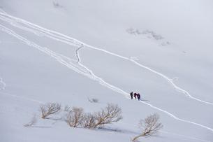 雪景色の千畳敷カールを登る登山者の写真素材 [FYI01563973]