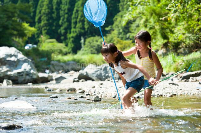 川遊びをする子どもたちの写真素材 [FYI01566179]