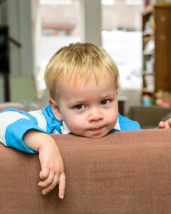 ソファの背から見つめる男の子の写真素材 [FYI01566557]