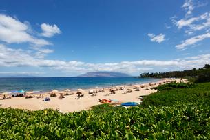 ワイレアビーチとビーチ パラソルと西マウイ島と雲の写真素材 [FYI01566763]