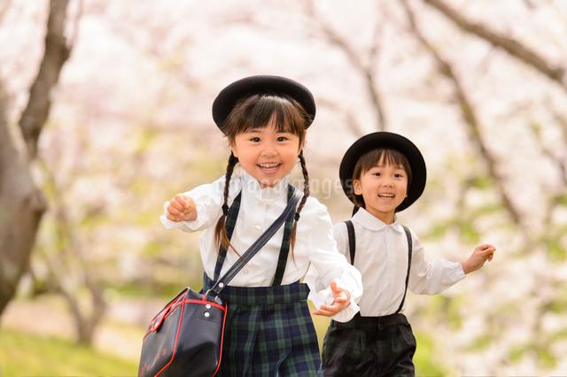 かけっこする女の子と男の子の写真素材 [FYI01567004]