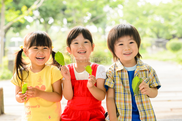 新緑の公園で葉っぱで遊ぶ女の子と男の子の写真素材 [FYI01567226]