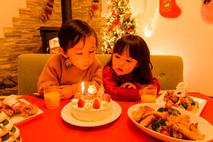 クリスマスケーキを見る子供の写真素材 [FYI01567255]