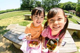 公園のベンチでお弁当を見せる女の子の写真素材 [FYI01568065]
