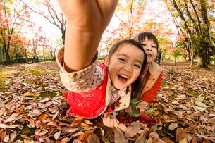 紅葉した落ち葉の上に寝転がる女の子の写真素材 [FYI01568508]