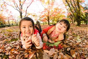 紅葉した落ち葉の上に寝転がる女の子の写真素材 [FYI01568824]