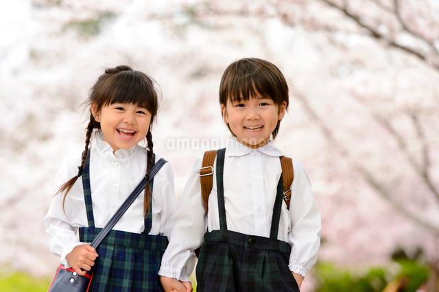 手を繋いで並んで立つ女の子と男の子の写真素材 [FYI01568843]