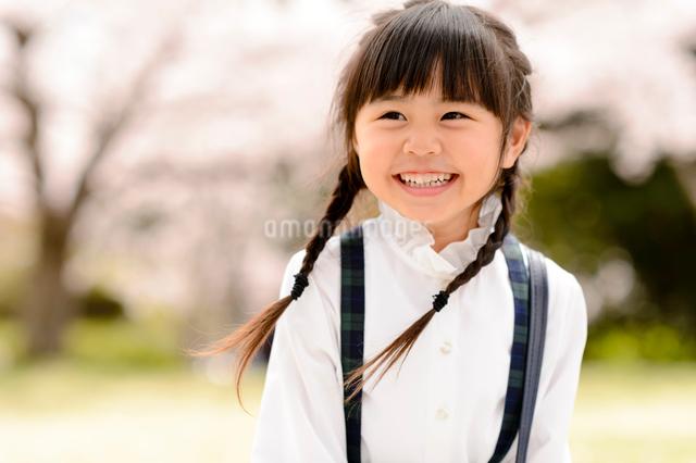 桜の木の前に立つ女の子の写真素材 [FYI01569142]