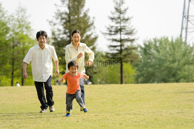 公園で走る親子の写真素材 [FYI01569156]