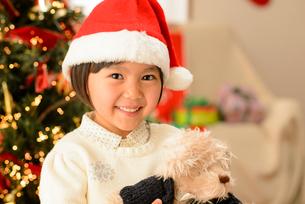 クリスマスツリーの前でぬいぐるみを抱く女の子の写真素材 [FYI01569388]