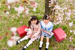 桜の木の下に座る女の子の写真素材 [FYI01569515]
