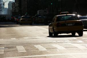 逆光に輝くアヴェニューとタクシーの写真素材 [FYI01569729]