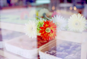 ベーカリーショーウインドーの赤い花の写真素材 [FYI01570374]