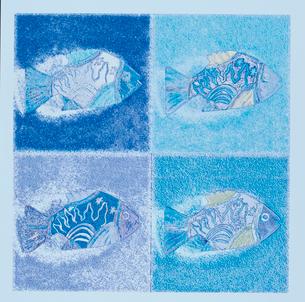 4匹の魚のイラスト 青のイラスト素材 [FYI01570575]
