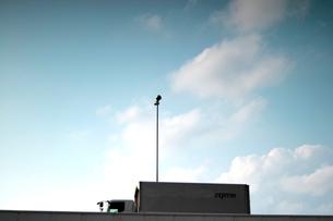 青空と白い雲を背景にした、首都高速道路遠景のトラックと照明灯の写真素材 [FYI01570620]