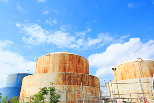 ブルックリンの石油タンクと新緑と雲の写真素材 [FYI01570663]