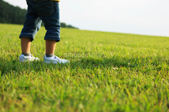 芝生の上に立つ男の子の足元の写真素材 [FYI01570936]