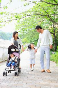 べビーカーを押しながら並木道を歩く日本人家族の写真素材 [FYI01572062]