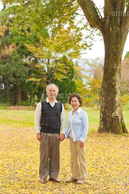 紅葉の落ち葉に立つシニア夫妻の写真素材 [FYI01572915]