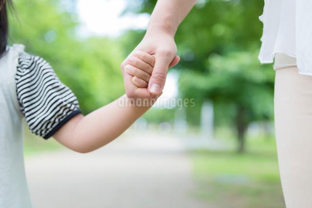 母親と手を繋ぐ女の子の写真素材 [FYI01573312]