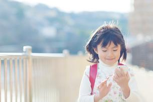 スマートフォンを持つ女の子の写真素材 [FYI01573400]