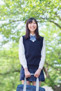 新緑の下で笑う女子高生の写真素材 [FYI01573494]