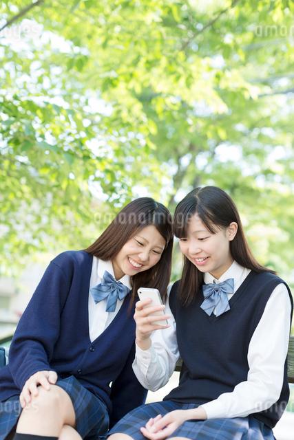 携帯を見て笑う2人の女子高生の写真素材 [FYI01573605]