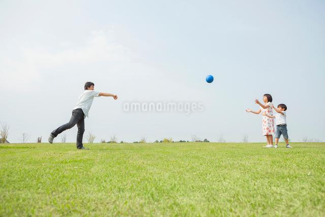 草原でボール遊びをする親子の写真素材 [FYI01574445]