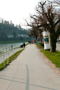 ザルツァッハ川と川畔の歩道の写真素材 [FYI01581069]