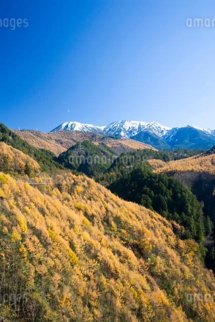 御岳と紅葉の山並の写真素材 [FYI01582084]