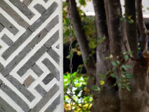 幾何学模様の柱と樹の写真素材 [FYI01585924]