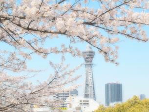 桜と通天閣の写真素材 [FYI01586195]