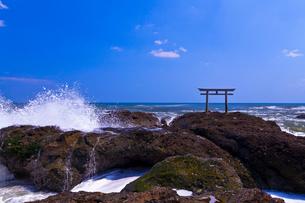 大洗磯前神社の神磯の鳥居と太平洋の写真素材 [FYI01587684]